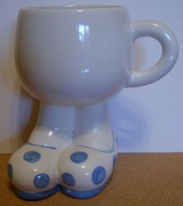 Carlton Ware Lustre Pottery Walking Ware Big Foot Blue Spot Cup - 1980s
